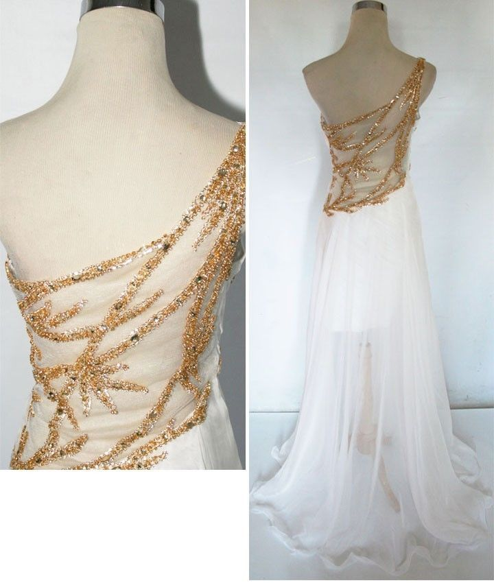 NWT Mac Duggal $398 Ivory / Gold Prom Pageant Gown 10
