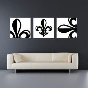 Set of 3 10x10 Fleur de Lis Canvas Wraps - Home Decor - Wall Art. $85.00, via Etsy.