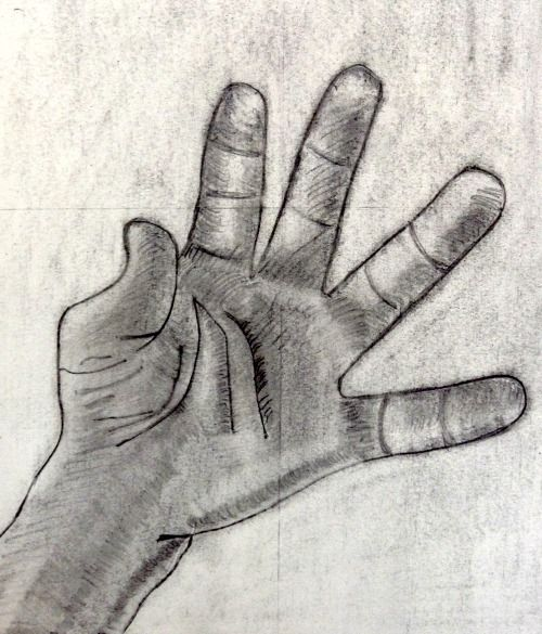 Jenny drew her hand this way on her first day of the course.