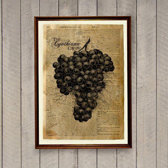 Kitchen decor Fruit print Grapes poster Dictionary by wordantique, $18.00