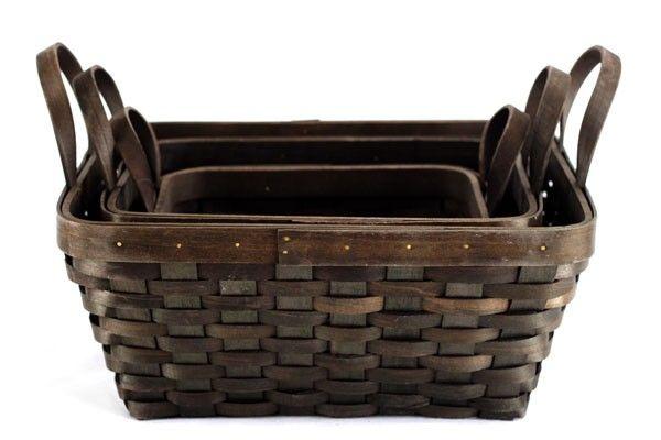 Set/3 Dark Brown Rectangular Baskets