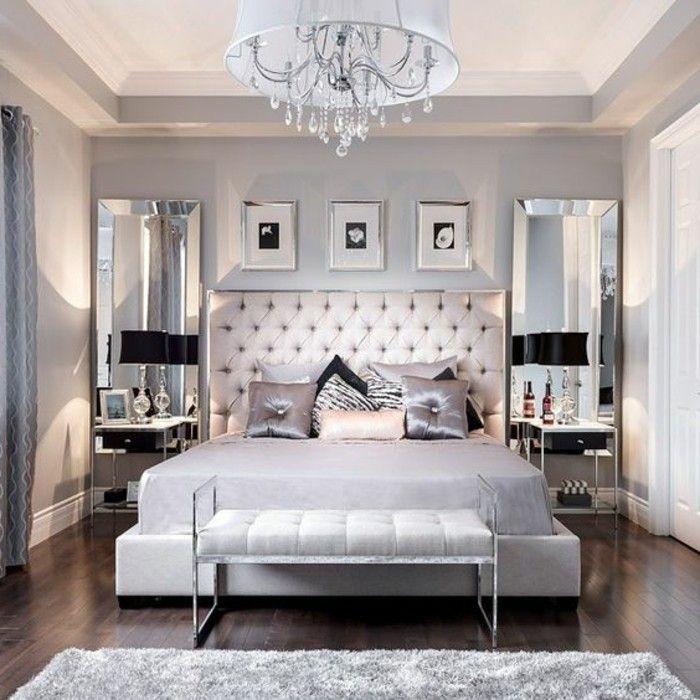 gestaltung schlafzimmer kronleuchter bett spiegeln modern weisser hocker - Bett Backboard Ideen