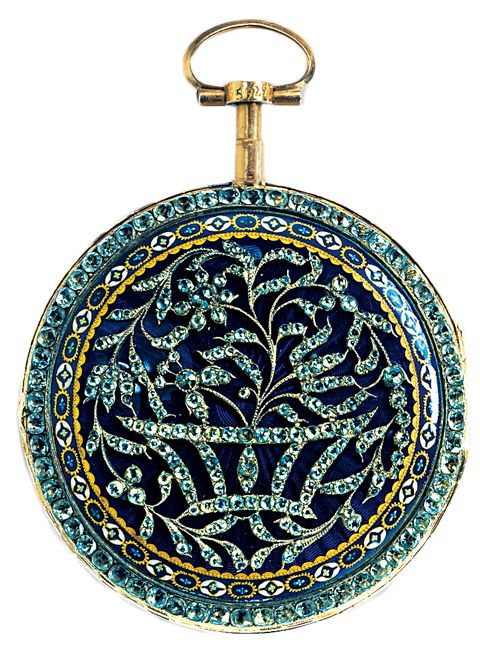Circa 1770 pocket watch with works by Pierre Viala, Geneva.  Exterior is gold, silver, diamonds, glass, and enamels