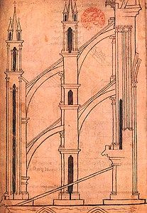 FLYING BUTTRESS - A flying buttress is a specific form of buttressing most strongly associated with Gothic church architecture. The purpose of any buttress is to resist the lateral forces pushing a wall outwards (which may arise from stone vaulted ceilings or from wind-loading on roofs) by redirecting them to the ground.