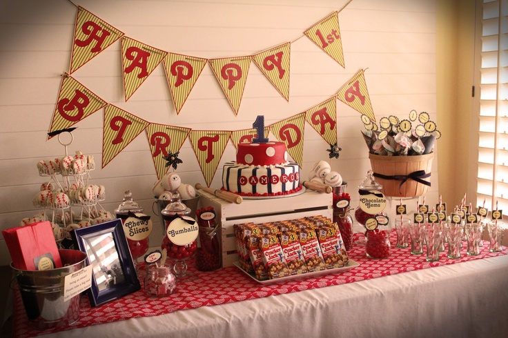 Vintage Baseball Dessert Table- 1st Birthday Party