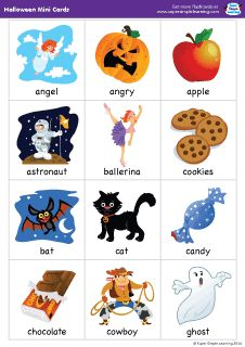 "Set of 38 mini flashcards to go with the ""Super Simple Songs - Halloween"" CD. Great for classroom or at-home games. #preK #Kindergarten #ESL"