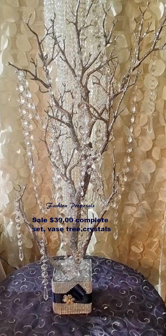 Sale Bling Manzanita Tree Centerpiece Silver Glitter Bling Centerpiece,Bling Wishing Tree, With hanging crystals and Bling rhinestone vase.