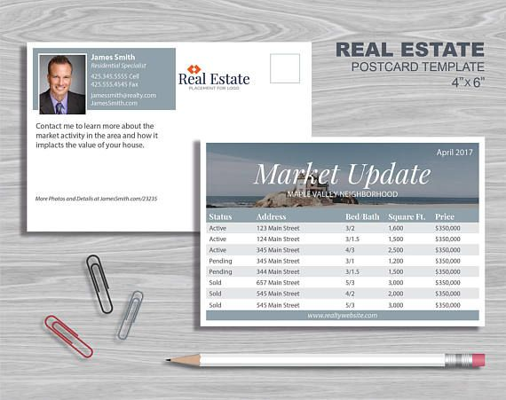 Real Estate Postcard Template  Marketing Update Template
