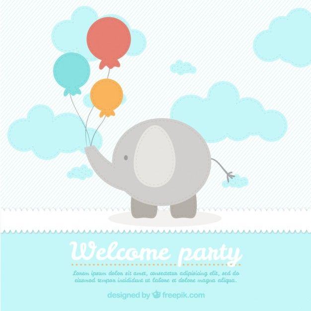 Cute elephant baby shower card template Free Vector