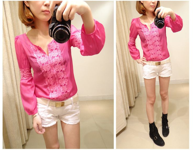 Pink blouse with lace inserts