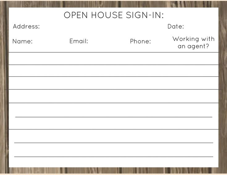 Sample Open House Sign In Sheet Template Free Sample Open House - sample open house sign in sheet template