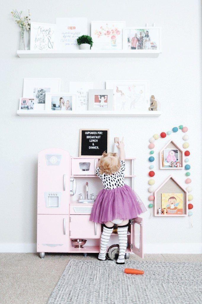 Kid's Playroom area     | Kid's Play Kitchen | Retro Pink Play Kitchen