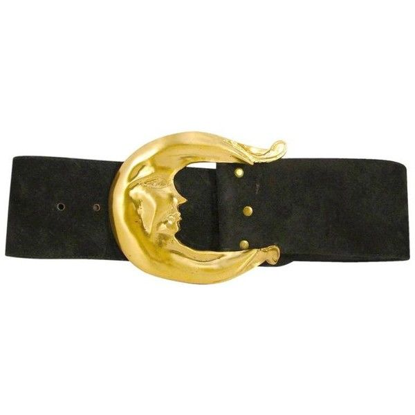 "Preowned Laloon Large 5.5"" Gold Metal Crescent Moon Belt Buckle &... ($650) ❤ liked on Polyvore featuring accessories, belts, black, buckle belt, polka dot belt, gold metal belt and strap belt"