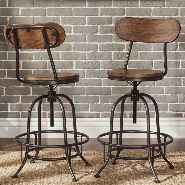 TRIBECCA HOME Berwick Iron Industrial Adjustable Counter-height Chair (Set of 2)