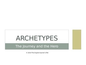 Included in this 15 slide presentation are the definition of an archetype, detailed descriptions for who the major archetypes are and culturally known examples of each archetype for class discussion. These slides are a good introduction for starting students into reading many great works, with the final presentation slide leading to a discussion of a culture's values in society and humanity.