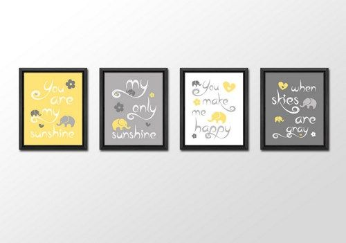 you are my sunshine baby shower gift, yellow gray girl nursery quotes | PinkeeArt - Children's ...