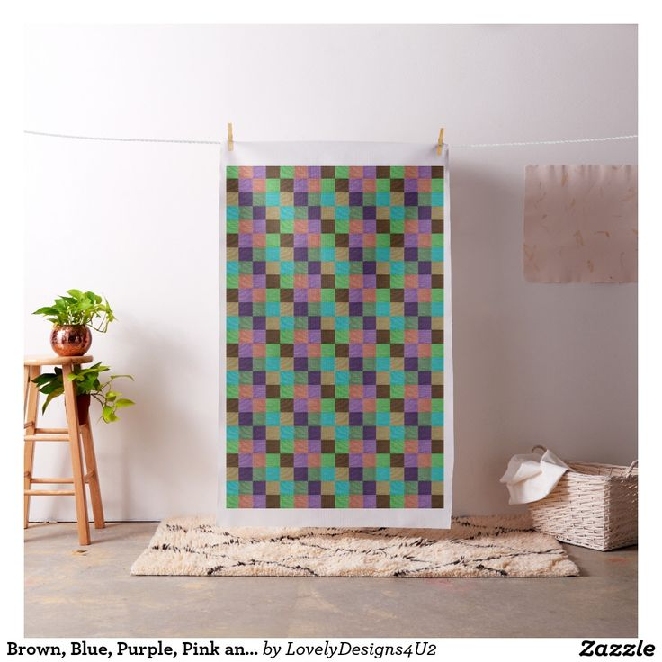 Brown, Blue, Purple, Pink and Green Squares Fabric
