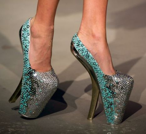 Jan Taminiau, 2012. Holland.  Sequinned stiletto platform shoes. Teal and silver.