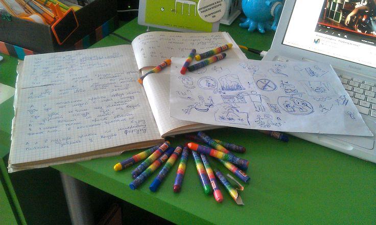 Zawsze wiedziałam, że można narysować WSZYSTKO, ale od wczoraj we wszystkim mieści się także rysunkowe tworzenie tekstów piosenki! Kristina Vladykina, nieprawdopodobnie pozytywna CouchSurferka, jest muzykiem, gra na gitarze, śpiewa, a w rodzinnymPermie(Rosja), uczy przedszkolaków muzyki i organizuje imprezy w formie prezentów. Jak zobaczyłam jej profil na CS, piszczałam z niedowierzania /p