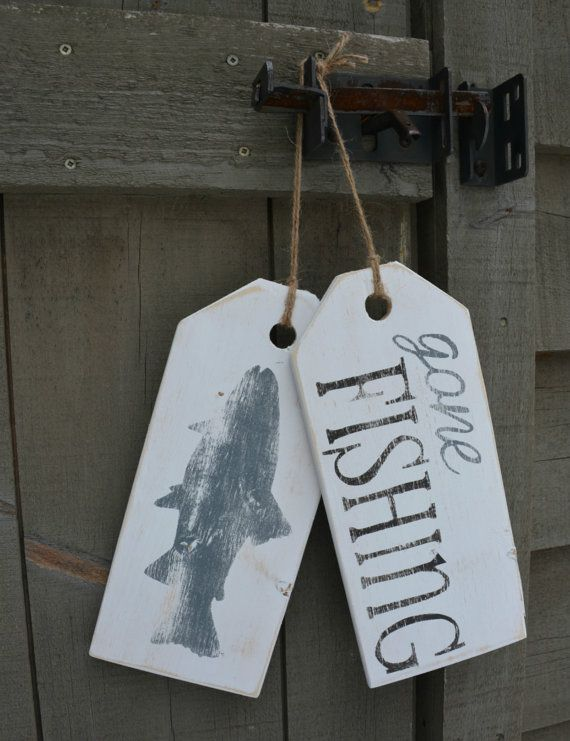 "Fishing sign. Wooden ""gone fishing"" hanging tags. Distressed, rustic cottage or home decor."