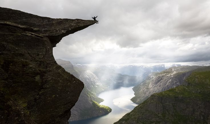 views from a cliff .Trolltunga is one of the most spectacular cliffs in Norway