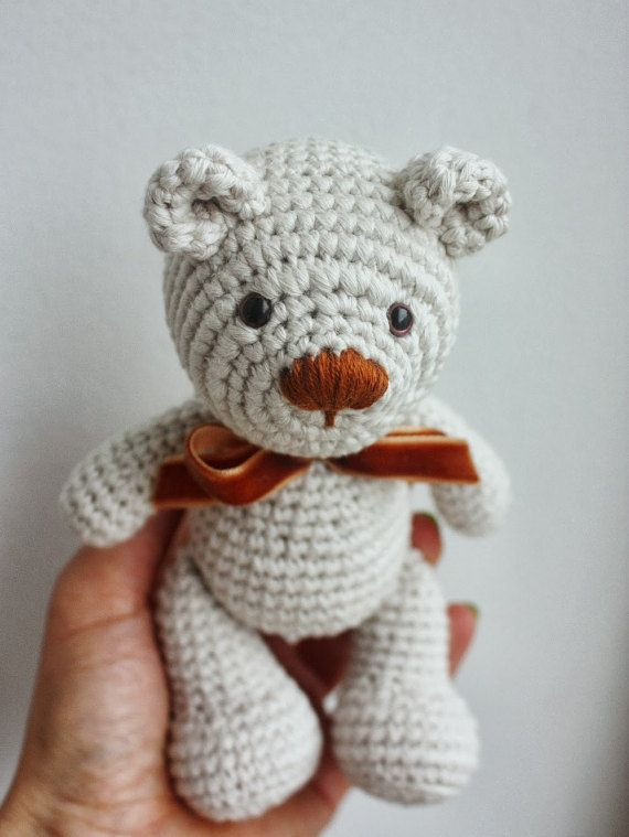 Amigurumi Little Teddy Bear Pattern - Instant Download In English!  With this tutorial you can make a lovely little teddy bear Pattern comes with step by step 36 photos on 25 pages!  Size: with 2 mm crochet hook: Approx. 15cm/5,9inc YARN: G-B Wolle, Bio-Baumwolle, Sport / 5 ply, Meterage 120 yards (110 meters) Unit weight 50 grams (1.76 ounces), amount: 1 ball  PS! You can use bigger hook size and a different yarn, design won´t change, your teddy bear will be bigger. Just take the y...