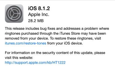 Apple rilascia iOS 8.1.2
