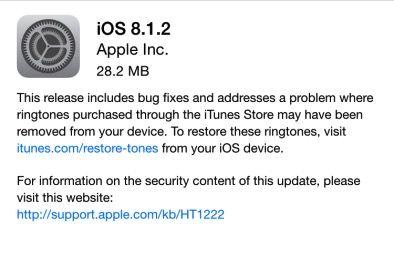 Apple rilascia iOS 8.1.2