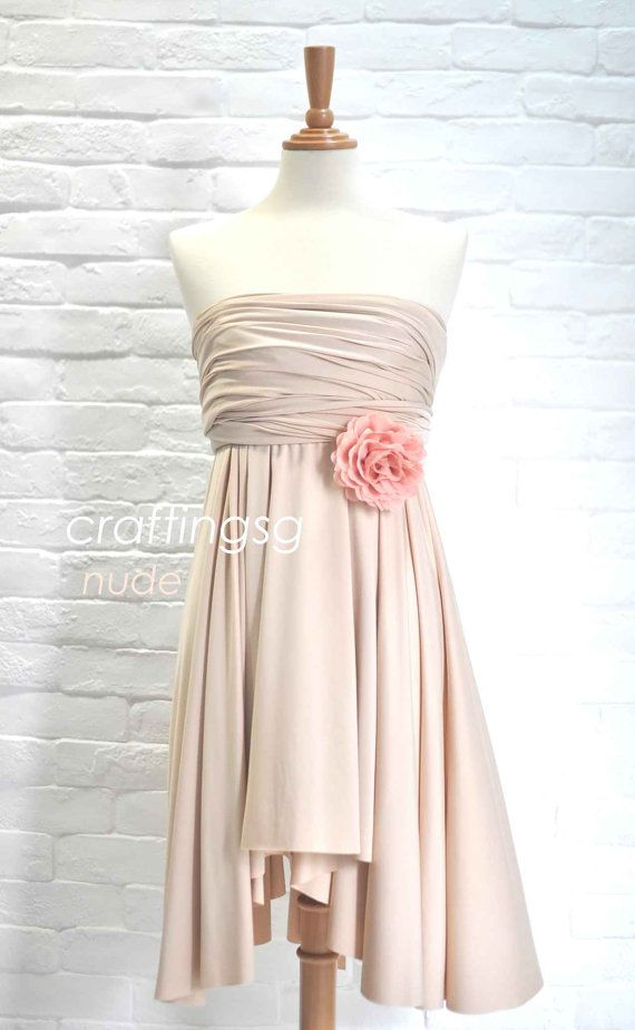 Bridesmaid Dress Infinity Dress Nude Knee Length by craftingsg, $35.00