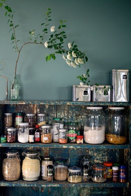 i like the eclectic containers, spices in jars. i could fill a whole set of mason jars with salt, curry, dried cilantro, etc.