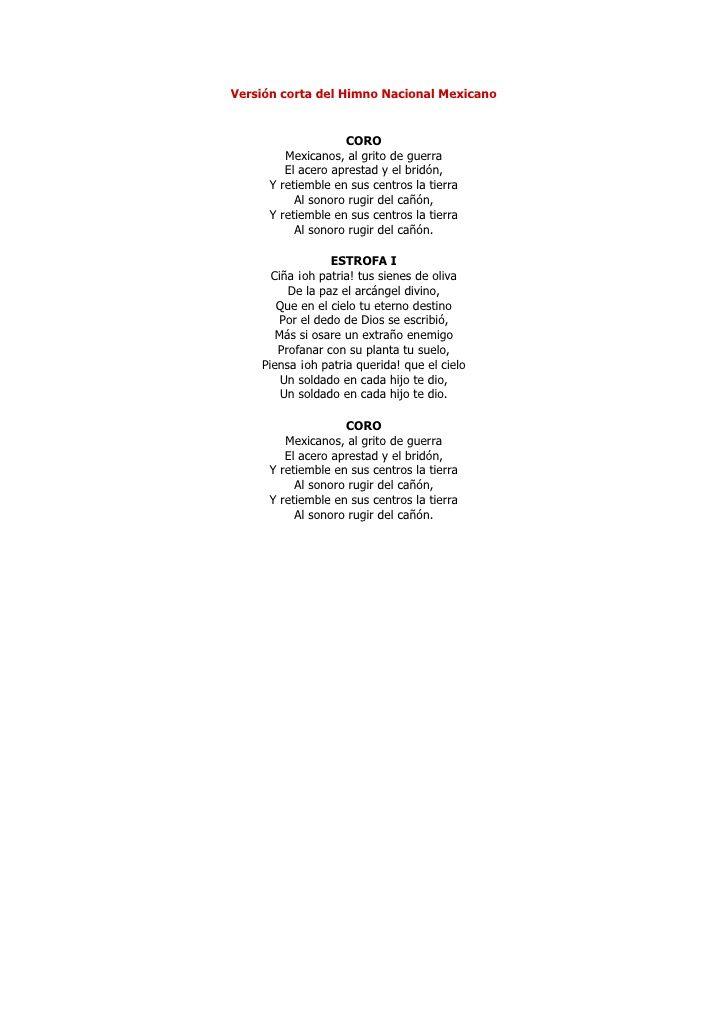 Versión corta del Himno Nacional Mexicano CORO…