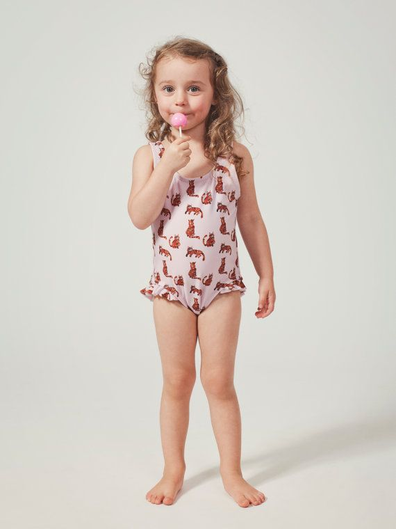Girls Cats One Piece Swimsuit Bathing Suit Children