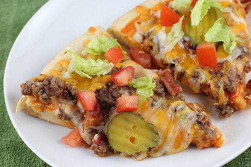 cheeseburger pizza.. sounds junky, but doesn't have to be with the right ingredients (organic lean ground beef, lots of veggies)