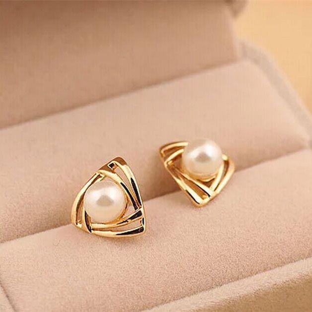 ER133  Hot fashion Simulated pearl Earrings Geometric triangle Stud Earrings for woman jewelry