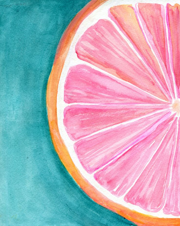 Grapefruit on Turquoise Watercolor Painting, Original Citrus ART, 8 x 10, kitchen decor, wall art by SharonFosterArt on Etsy