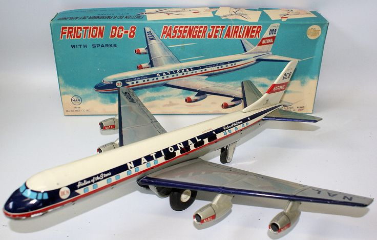 Vintage 1960's Tin Litho Friction National DC-8 PASSENGER JET AIRLINER by Linemar, Japan