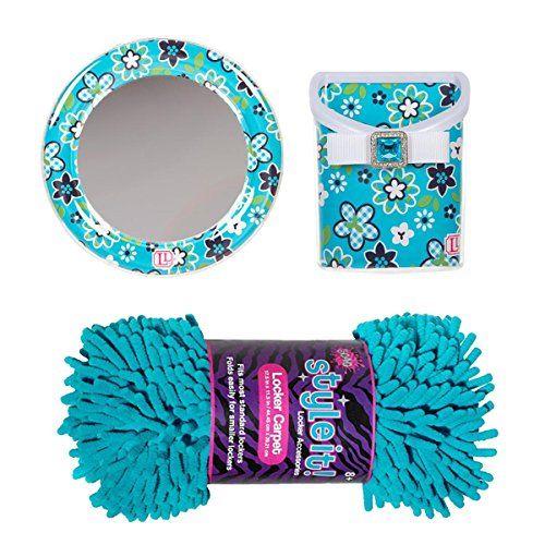 LockerLookz Blue Flower Mirror And Matching Bin, With 3C4G Shag Turquoise Locker  Rug (Bundle