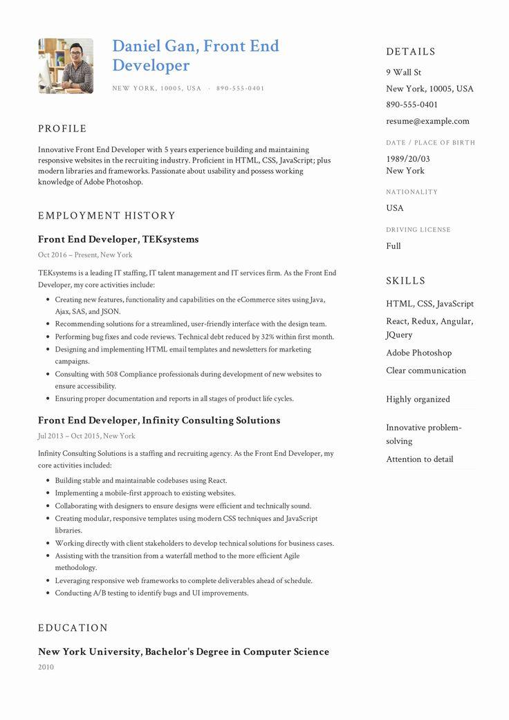 25 Front End Developer Resume Template in 2020 Resume