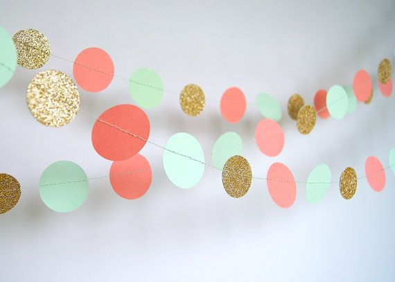 paper garland in coral mint and gold doublesided bridal shower baby shower party mint gold party