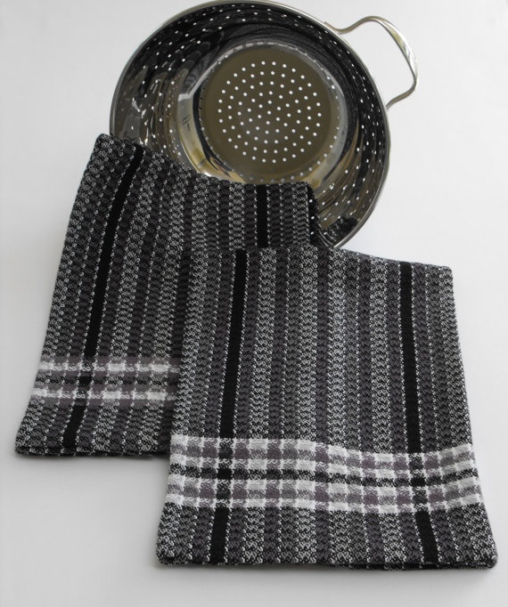 Hand Woven Kitchen Tea Towel, Black And Grey Bold Graphic Stripes, Plaid  Borders,