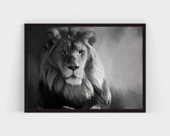 lion black and white animal photography art prints printable bw poster horizontal 8x10 16x20 wall art  gift ideas animal portrait watercolor