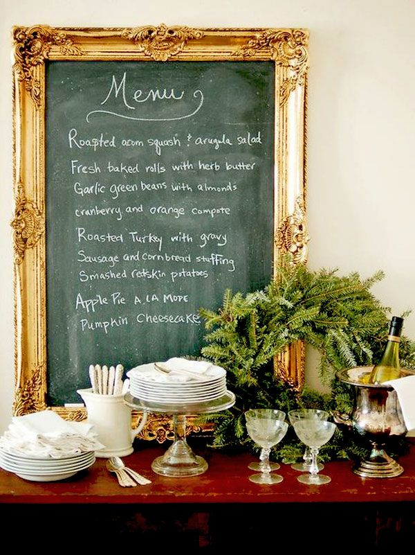 GORGEOUS WAY TO DISPLAY YOU HOLIDAY MENU...........Ideas, Frames Chalkboards, Dining Room, Chalkboards Painting, Menu Boards, Dinner Parties, Christmas, Chalk Boards, Old Frames