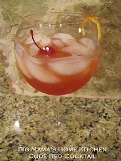 Guy's Code Red:  Vodka, Peach Schnapps, Amaretto, Cranberry juice, Orange juice