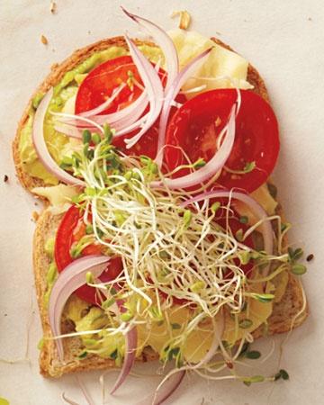 Sharp cheddar, avocado, tomato, red onion on whole wheat
