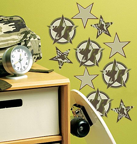 Camo stars big wall stickers from wallies removable and repositionable vinyl use as a