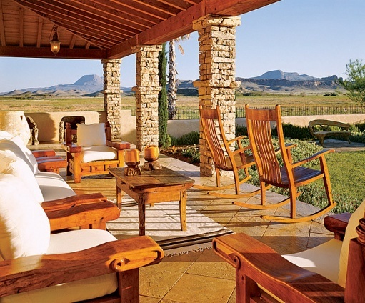 West Texas ranch...love the stacked stone columns
