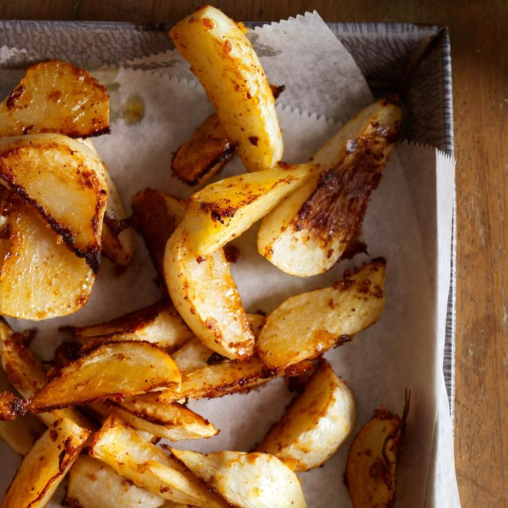 Roasted Turnips with Parmesan. Substitute the parmesan.
