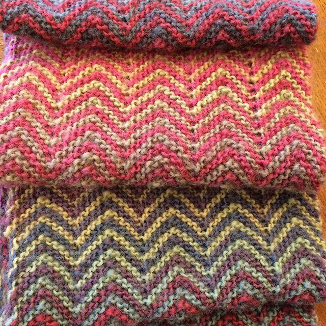 Ravelry: smitcat's Zickzack knit in two colorways of Mini Mochi