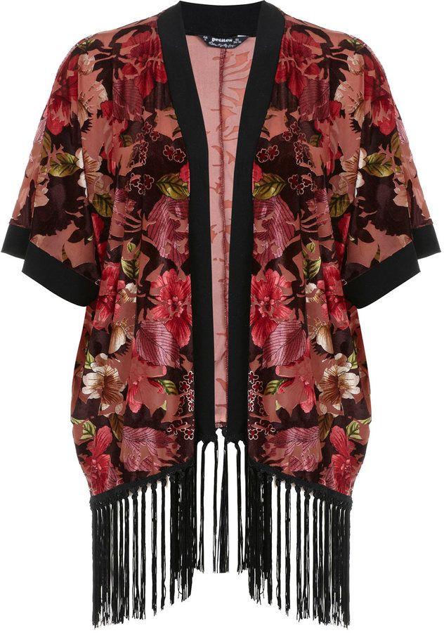 Miss Selfridge Petites burgundy fringe kimono on shopstyle.com.au