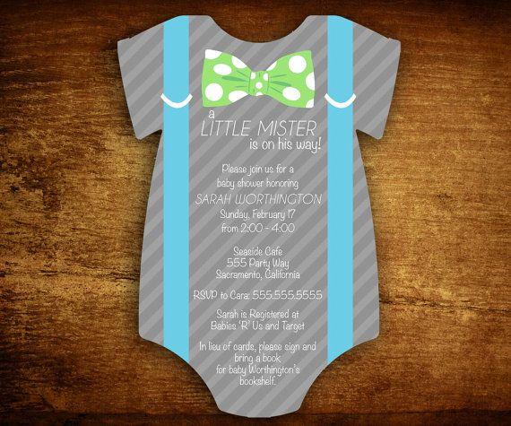 Set of 30 Onesie Die Cut Little Mister Suspenders Baby Boy Shower Invitations